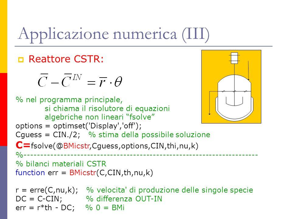 Applicazione numerica (III)