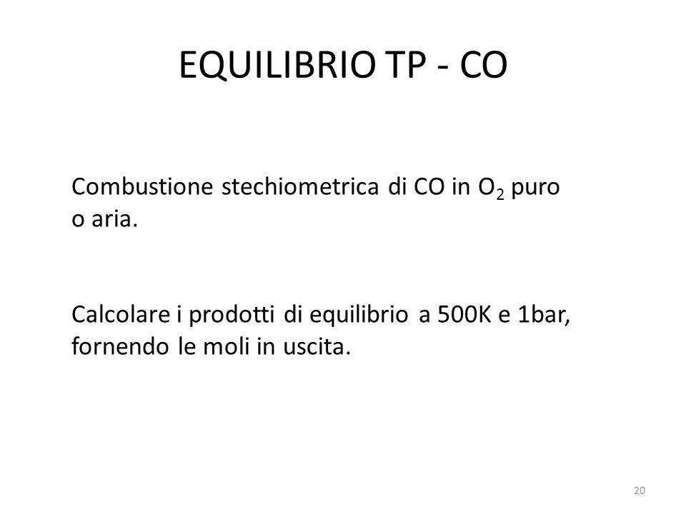 EQUILIBRIO TP - CO Combustione stechiometrica di CO in O2 puro o aria.