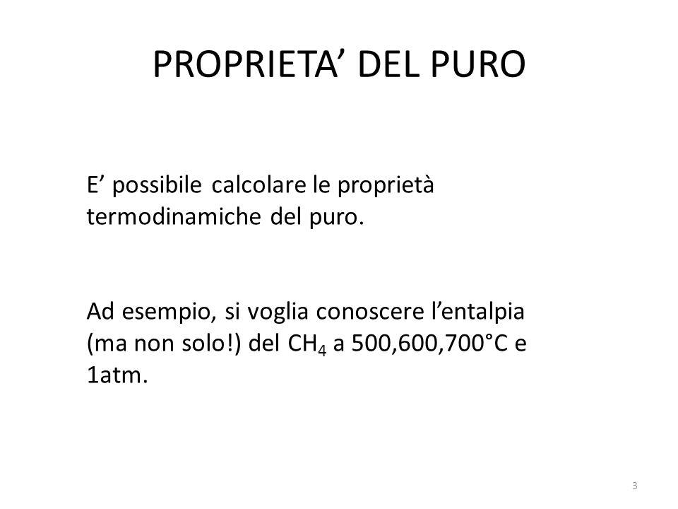 PROPRIETA' DEL PURO E' possibile calcolare le proprietà termodinamiche del puro.