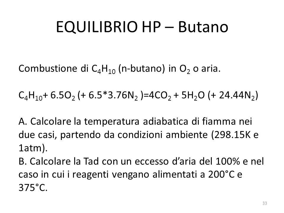 EQUILIBRIO HP – Butano Combustione di C4H10 (n-butano) in O2 o aria.