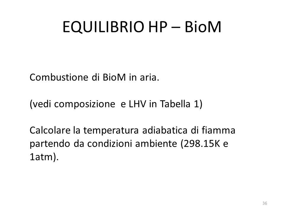 EQUILIBRIO HP – BioM Combustione di BioM in aria.
