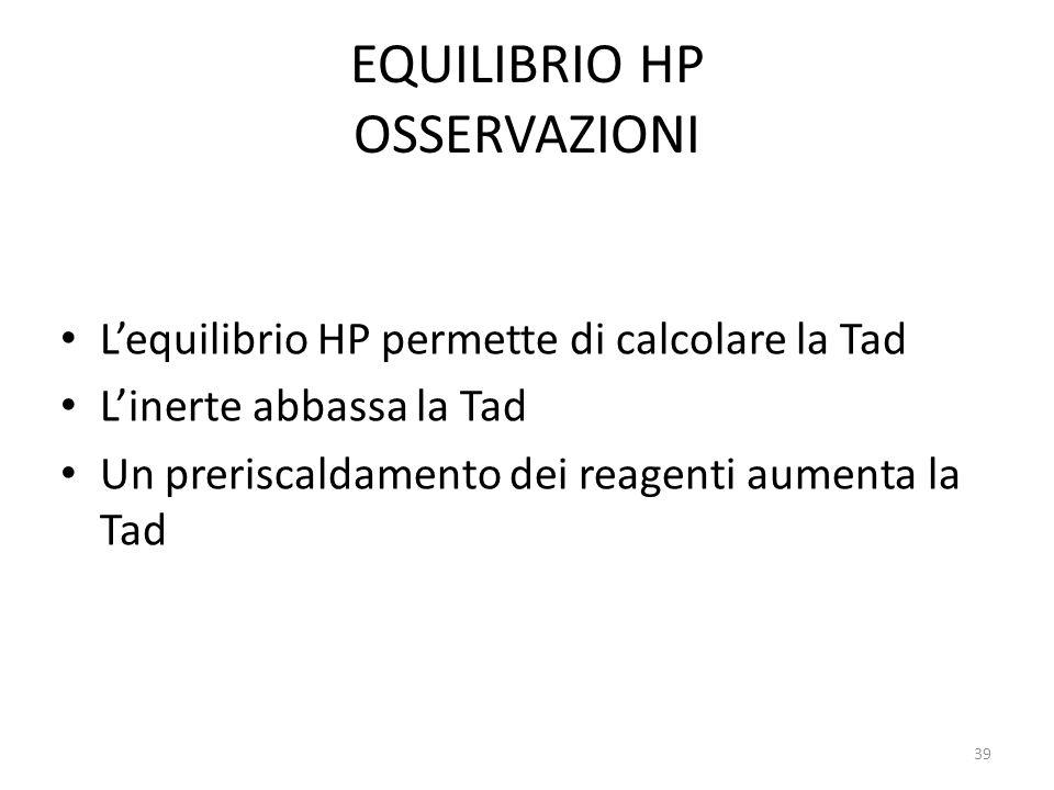 EQUILIBRIO HP OSSERVAZIONI