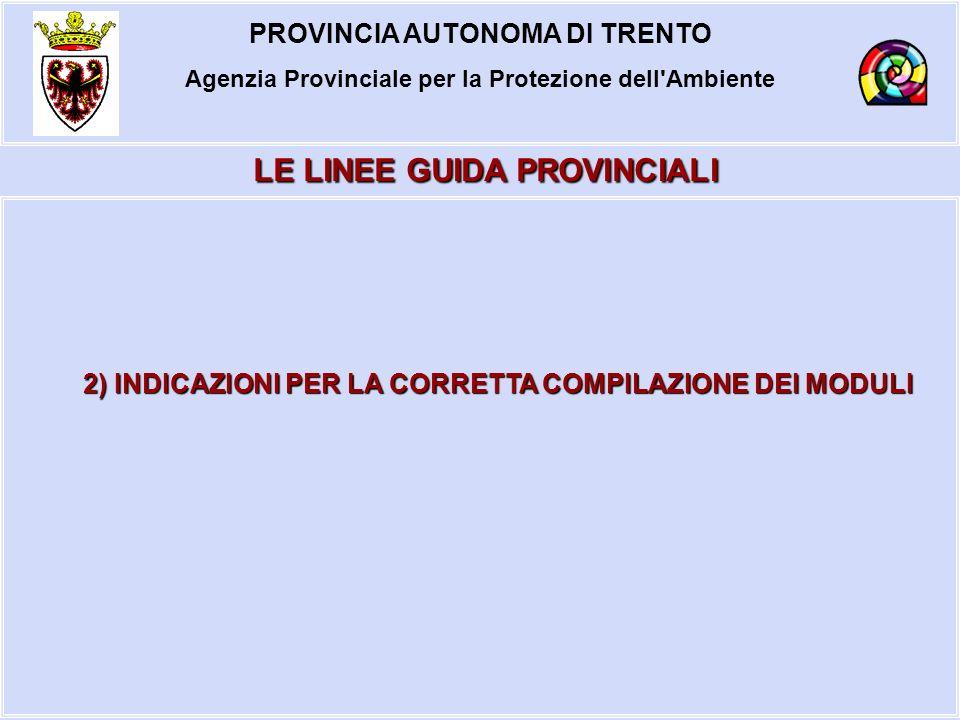 LE LINEE GUIDA PROVINCIALI