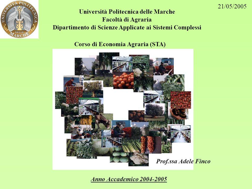 Università Politecnica delle Marche Facoltà di Agraria