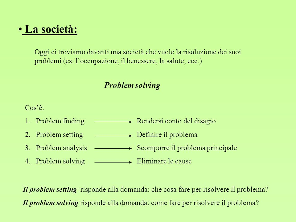 La società: Problem solving