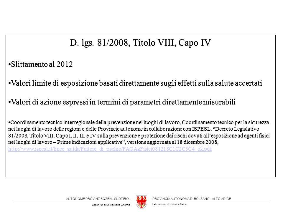 D. lgs. 81/2008, Titolo VIII, Capo IV