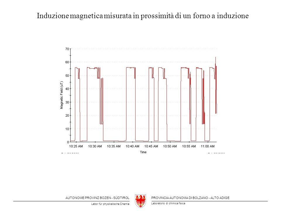 Induzione magnetica misurata in prossimità di un forno a induzione