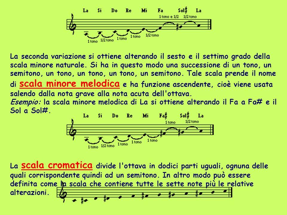 La seconda variazione si ottiene alterando il sesto e il settimo grado della scala minore naturale. Si ha in questo modo una successione di un tono, un semitono, un tono, un tono, un tono, un semitono. Tale scala prende il nome di scala minore melodica e ha funzione ascendente, cioè viene usata salendo dalla nota grave alla nota acuta dell ottava. Esempio: la scala minore melodica di La si ottiene alterando il Fa a Fa# e il Sol a Sol#.