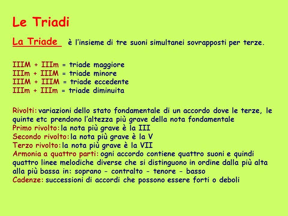 Le Triadi La Triade è l'insieme di tre suoni simultanei sovrapposti per terze.