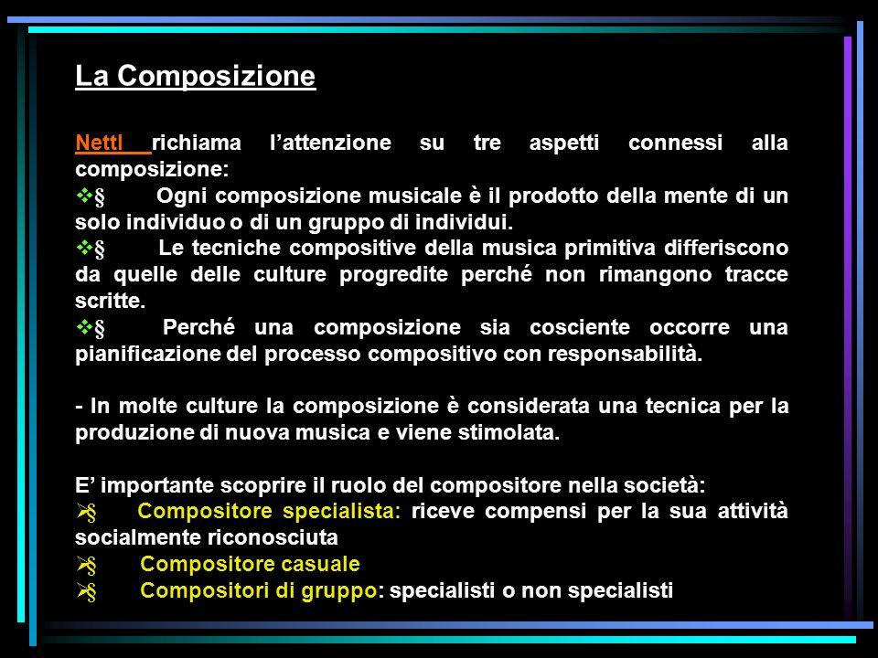 La Composizione Nettl richiama l'attenzione su tre aspetti connessi alla composizione: