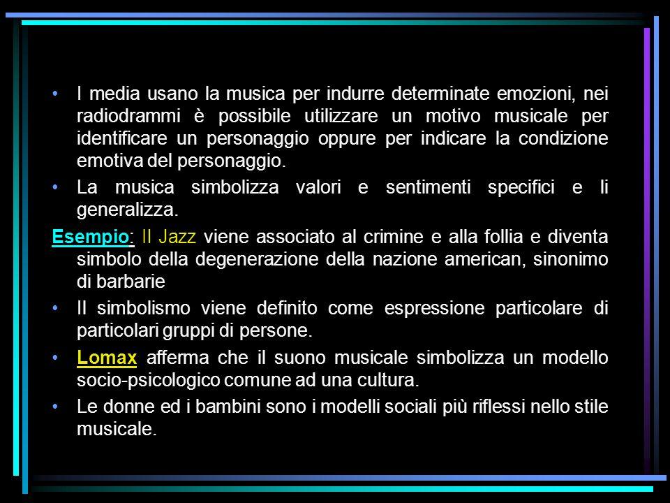 I media usano la musica per indurre determinate emozioni, nei radiodrammi è possibile utilizzare un motivo musicale per identificare un personaggio oppure per indicare la condizione emotiva del personaggio.