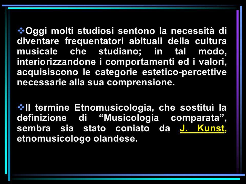 Oggi molti studiosi sentono la necessità di diventare frequentatori abituali della cultura musicale che studiano; in tal modo, interiorizzandone i comportamenti ed i valori, acquisiscono le categorie estetico-percettive necessarie alla sua comprensione.