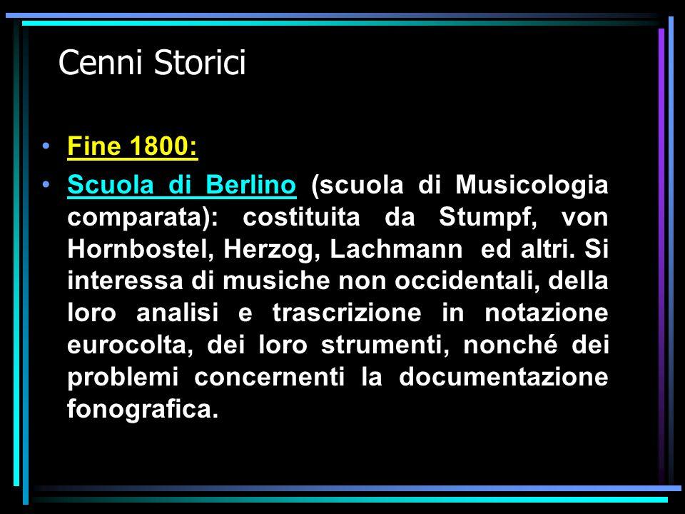 Cenni Storici Fine 1800: