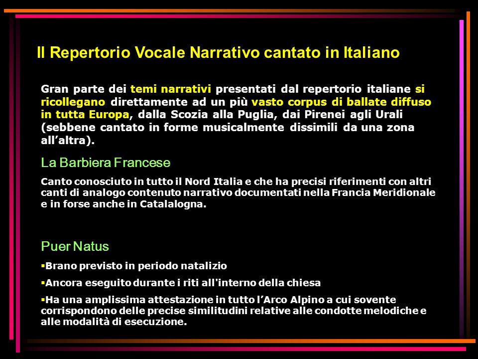 Il Repertorio Vocale Narrativo cantato in Italiano