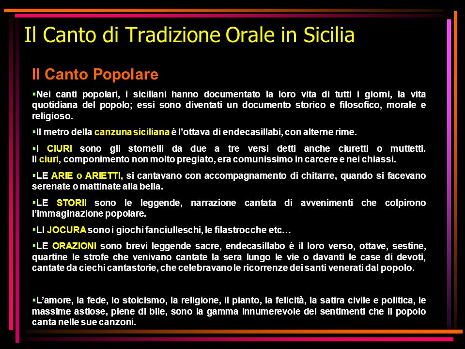 Il Canto di Tradizione Orale in Sicilia