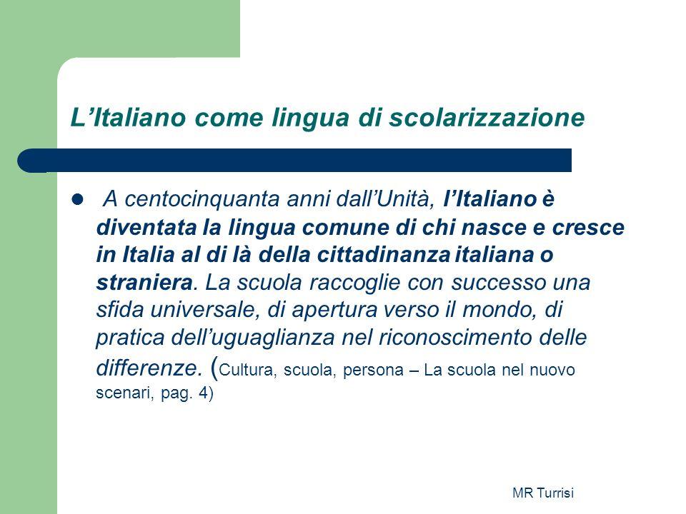 L'Italiano come lingua di scolarizzazione