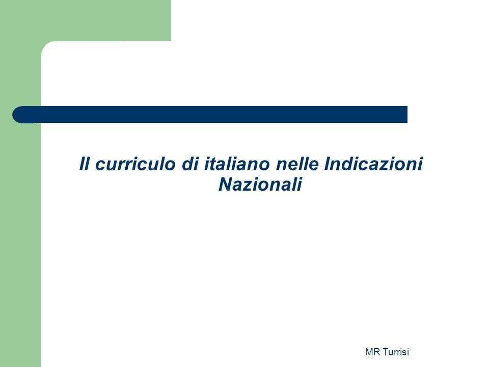 Il curriculo di italiano nelle Indicazioni Nazionali