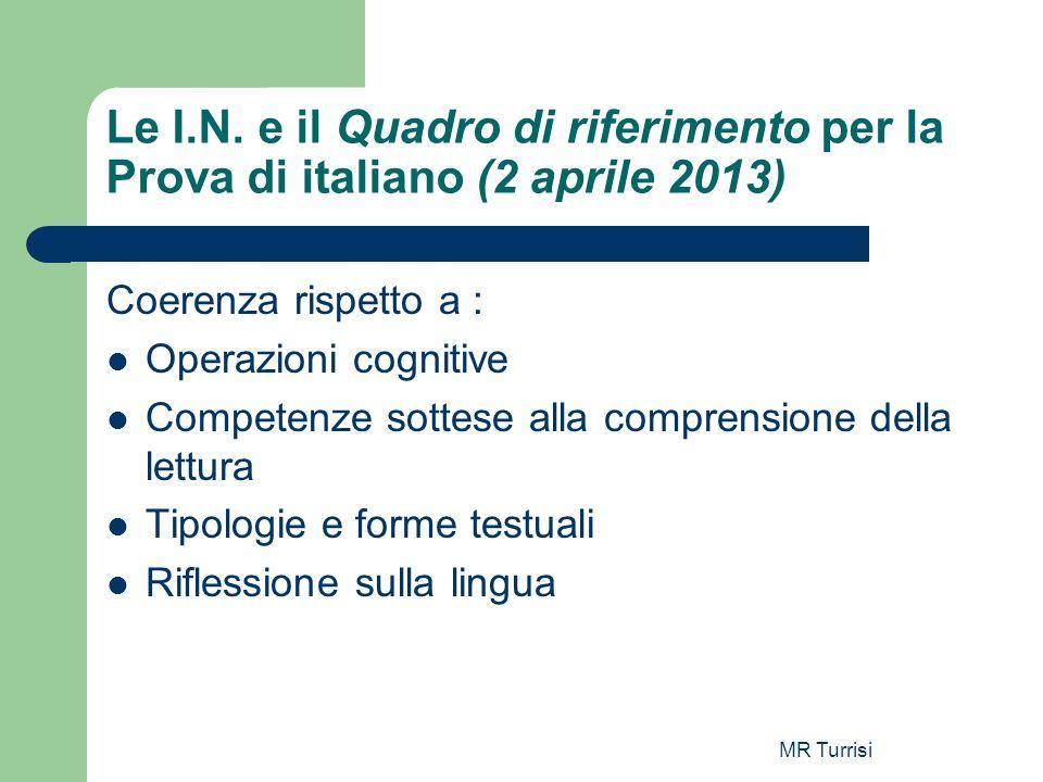 Le I.N. e il Quadro di riferimento per la Prova di italiano (2 aprile 2013)