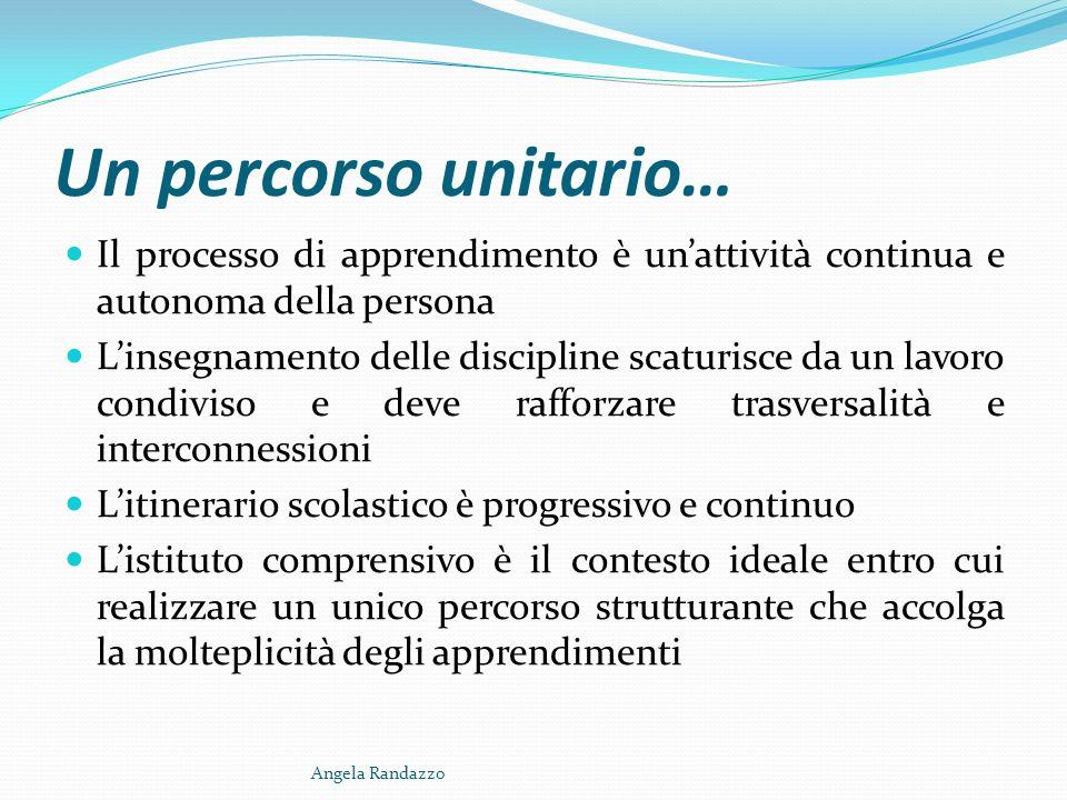 Un percorso unitario… Il processo di apprendimento è un'attività continua e autonoma della persona.