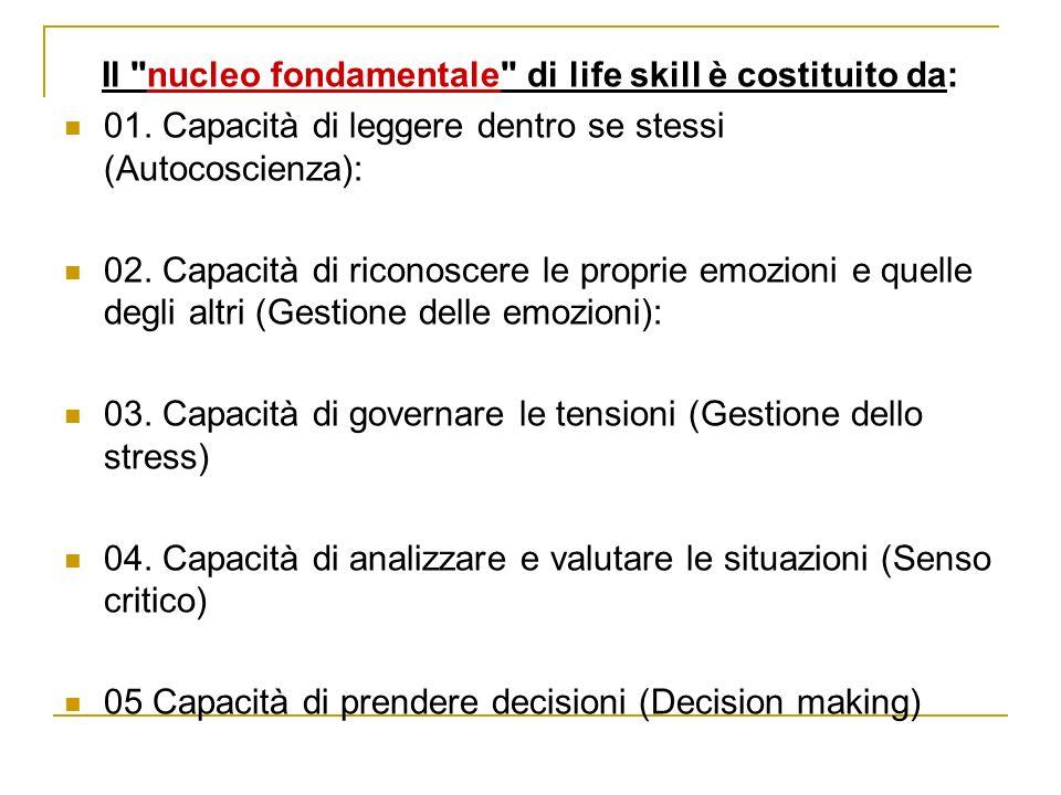Il nucleo fondamentale di life skill è costituito da: