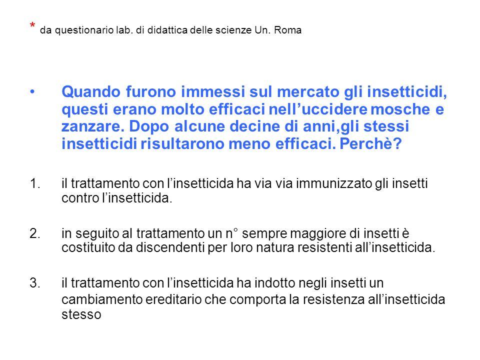 * da questionario lab. di didattica delle scienze Un. Roma