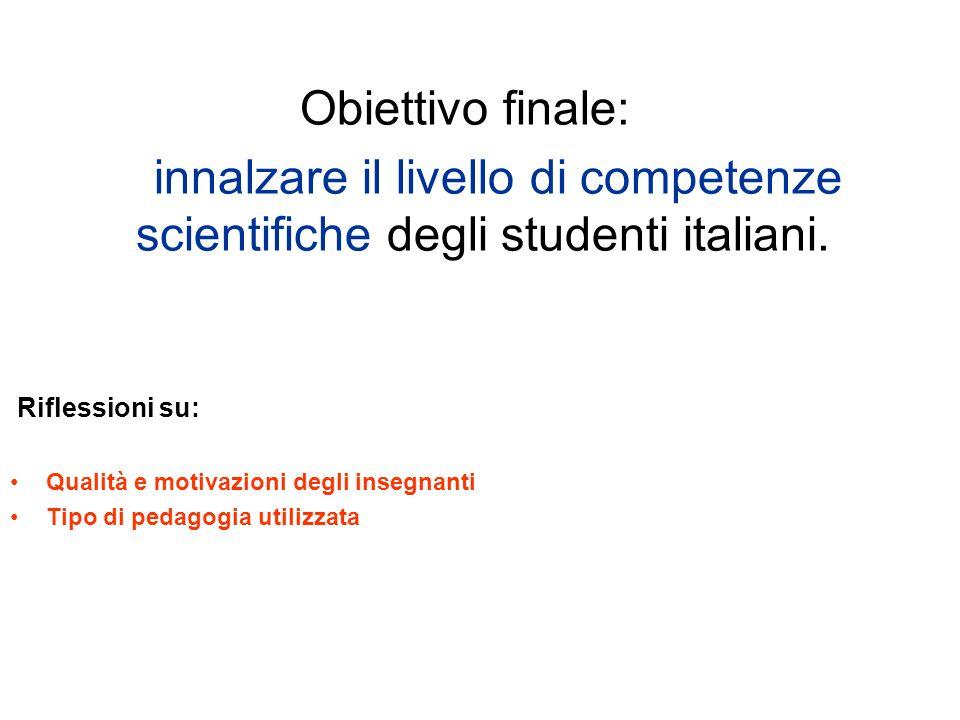 Obiettivo finale:innalzare il livello di competenze scientifiche degli studenti italiani. Riflessioni su: