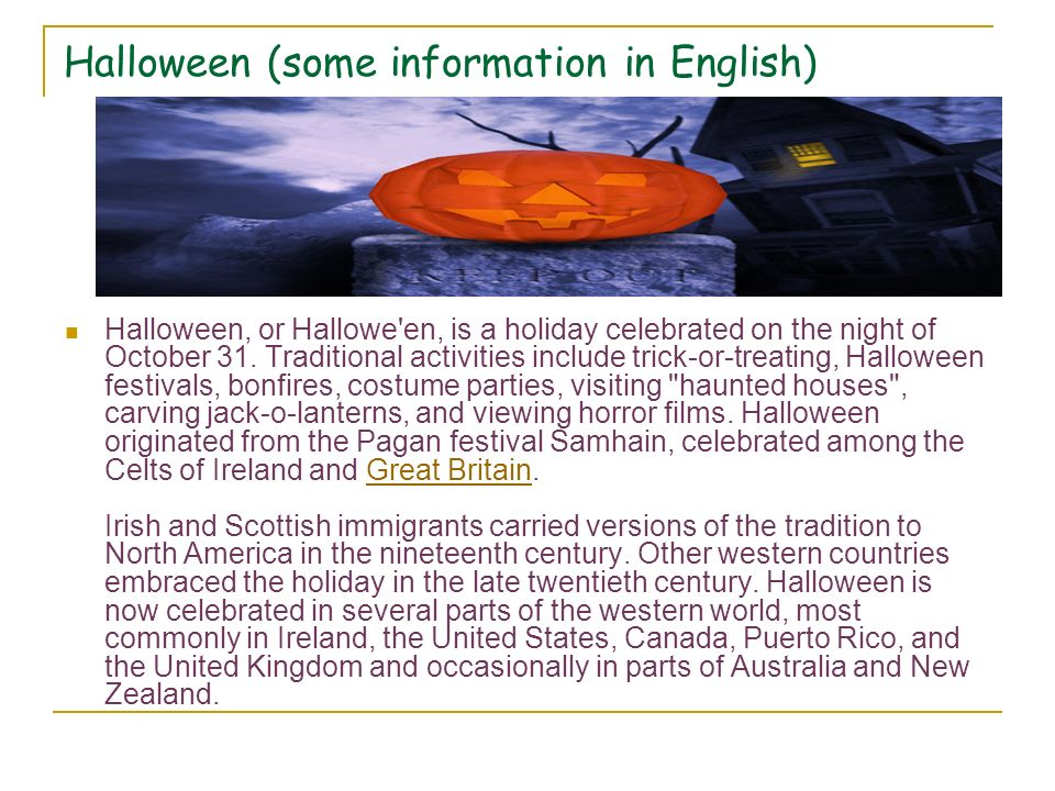 Halloween (some information in English)