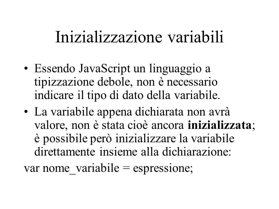 Inizializzazione variabili