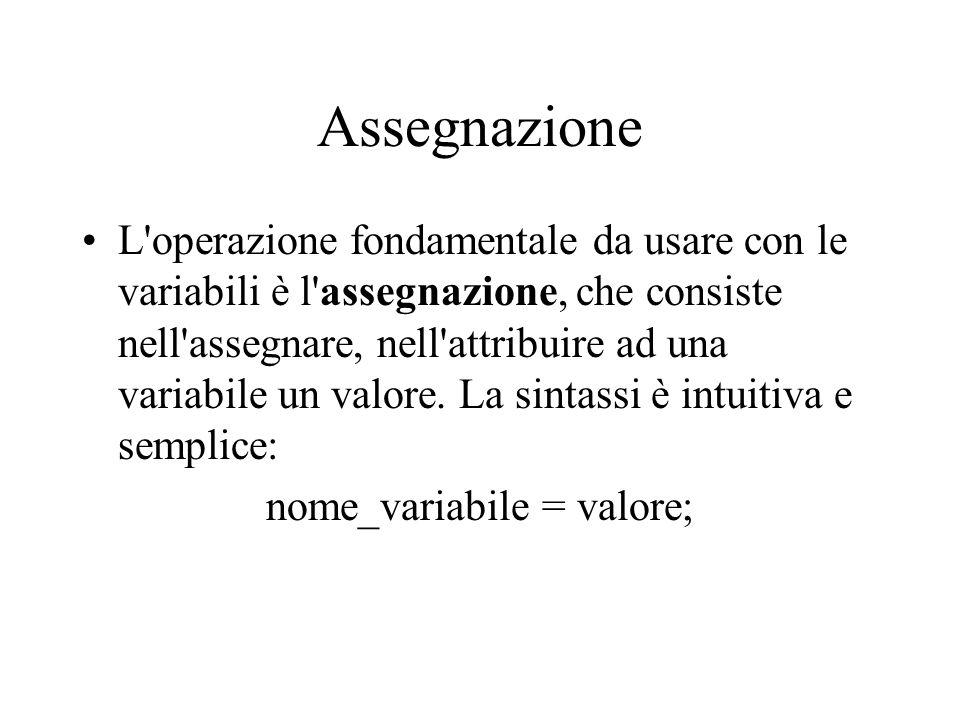 nome_variabile = valore;