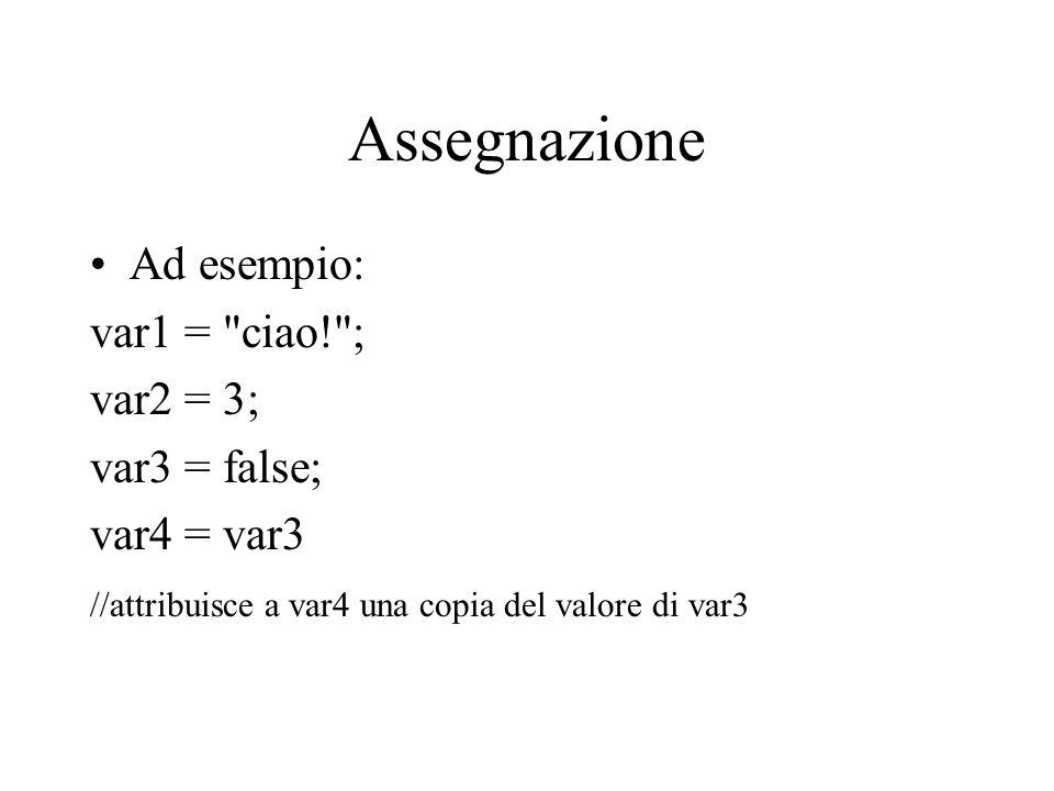 Assegnazione Ad esempio: var1 = ciao! ; var2 = 3; var3 = false;