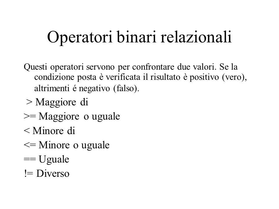 Operatori binari relazionali