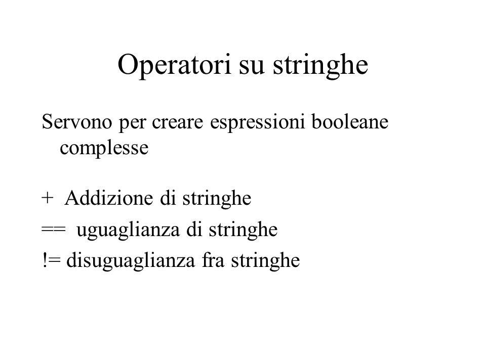 Operatori su stringhe Servono per creare espressioni booleane complesse. + Addizione di stringhe.