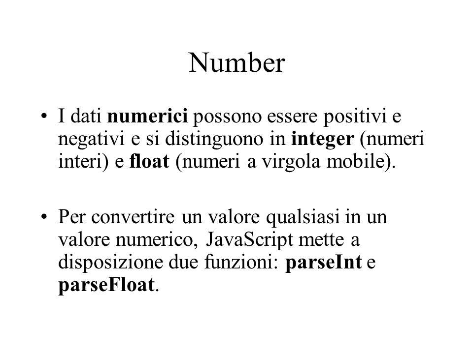 Number I dati numerici possono essere positivi e negativi e si distinguono in integer (numeri interi) e float (numeri a virgola mobile).