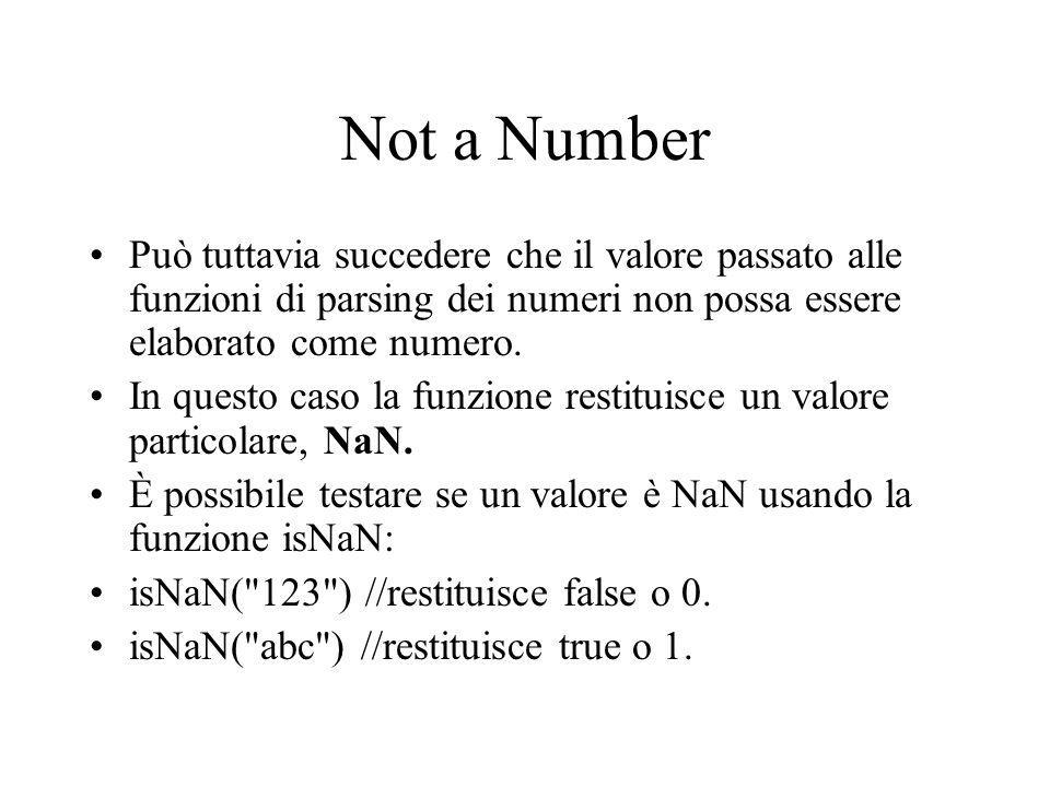 Not a Number Può tuttavia succedere che il valore passato alle funzioni di parsing dei numeri non possa essere elaborato come numero.