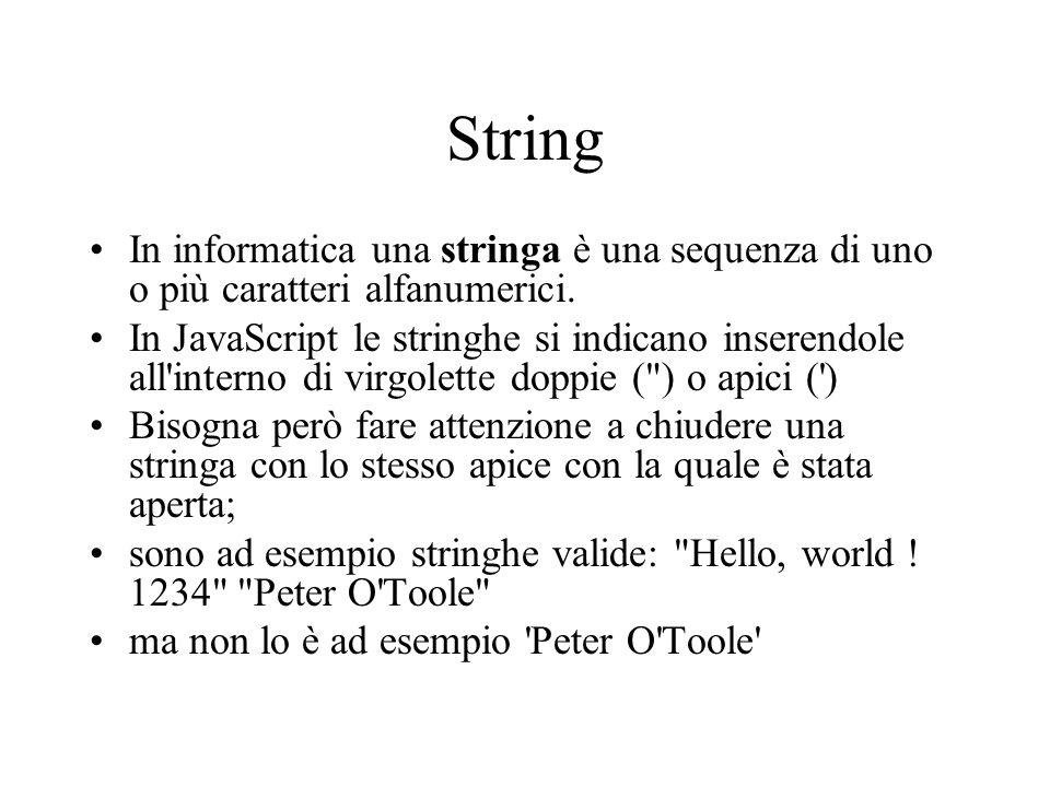 String In informatica una stringa è una sequenza di uno o più caratteri alfanumerici.
