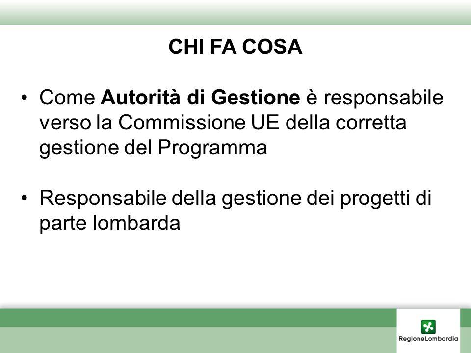 CHI FA COSA Come Autorità di Gestione è responsabile verso la Commissione UE della corretta gestione del Programma.
