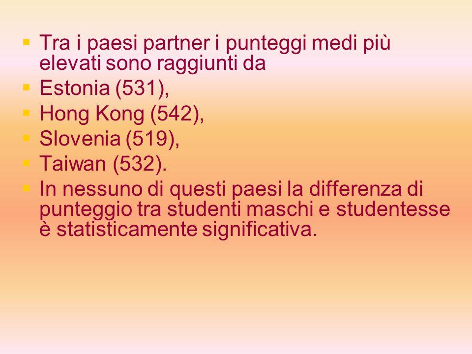 Tra i paesi partner i punteggi medi più elevati sono raggiunti da