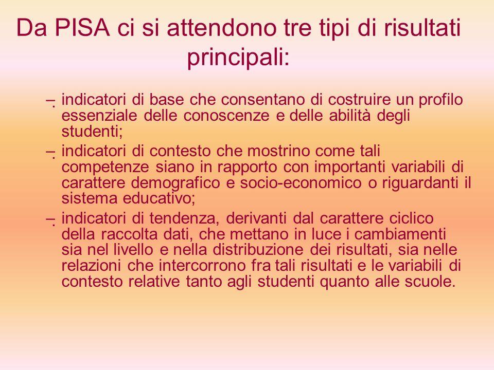Da PISA ci si attendono tre tipi di risultati principali: