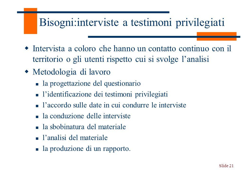 Bisogni:interviste a testimoni privilegiati