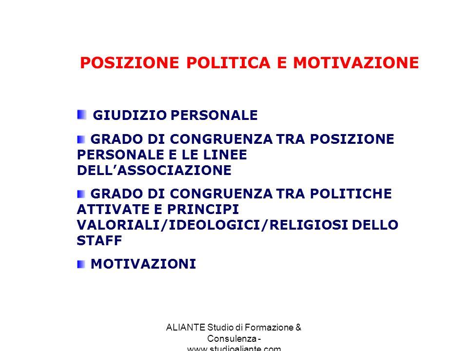 POSIZIONE POLITICA E MOTIVAZIONE