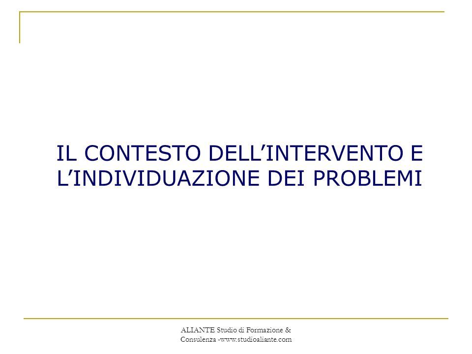 IL CONTESTO DELL'INTERVENTO E L'INDIVIDUAZIONE DEI PROBLEMI