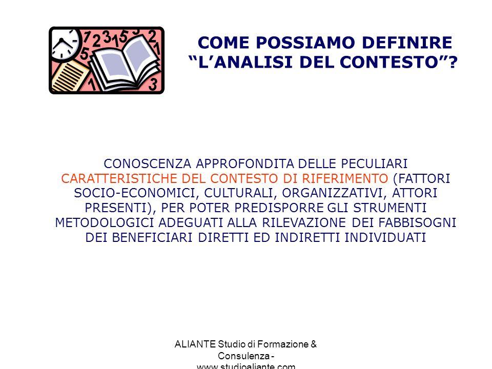 COME POSSIAMO DEFINIRE L'ANALISI DEL CONTESTO