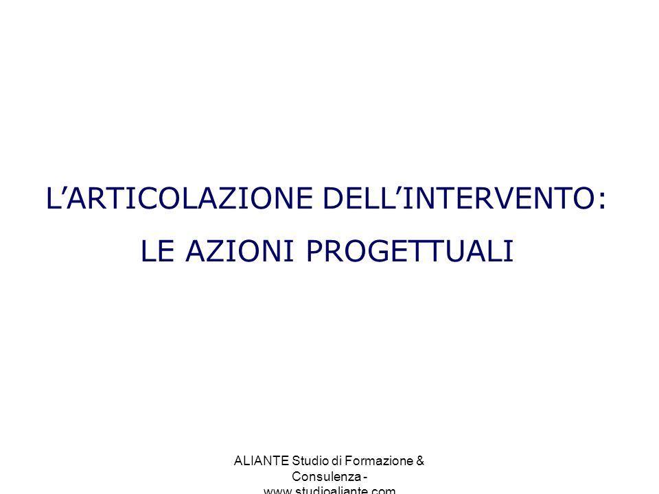 L'ARTICOLAZIONE DELL'INTERVENTO: LE AZIONI PROGETTUALI