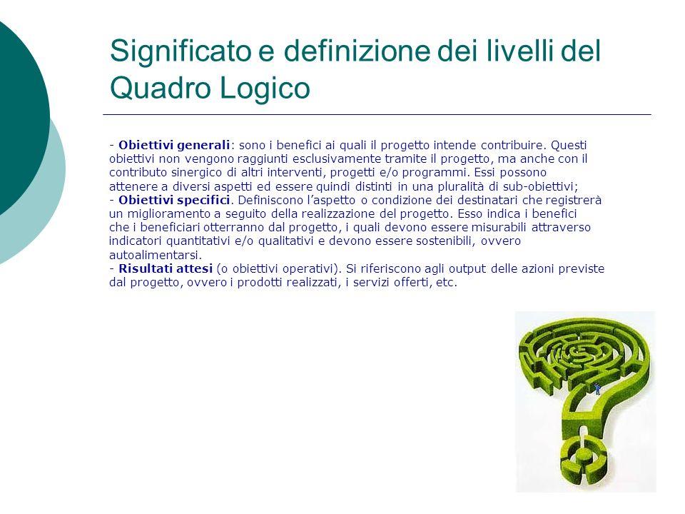 Significato e definizione dei livelli del Quadro Logico