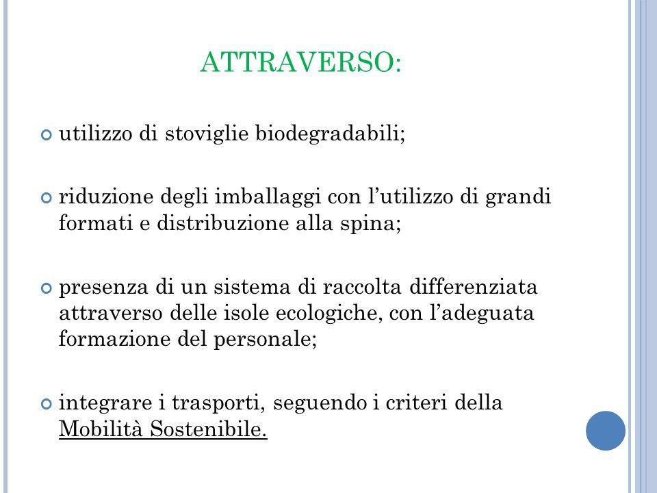 ATTRAVERSO: utilizzo di stoviglie biodegradabili;