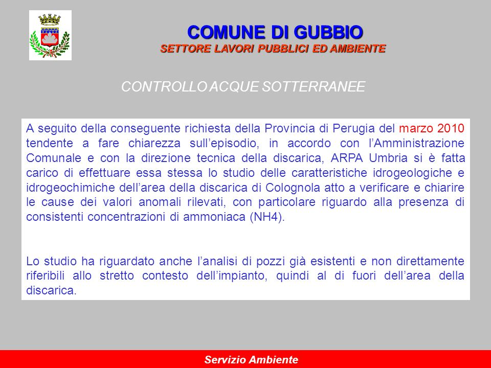 CONTROLLO ACQUE SOTTERRANEE