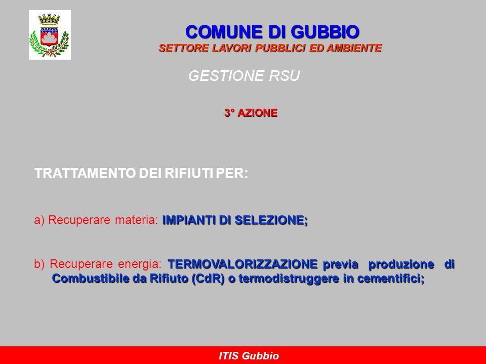 COMUNE DI GUBBIO GESTIONE RSU TRATTAMENTO DEI RIFIUTI PER: