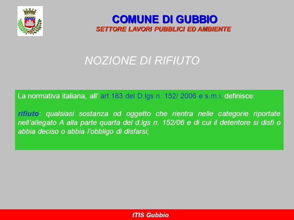 NOZIONE DI RIFIUTO COMUNE DI GUBBIO