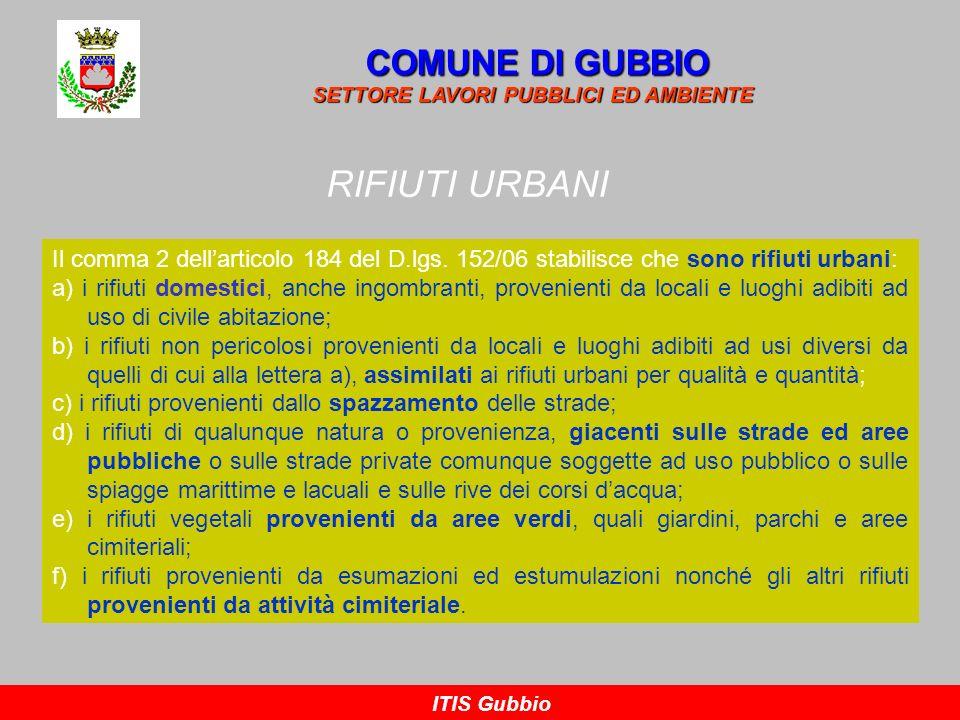 RIFIUTI URBANI COMUNE DI GUBBIO