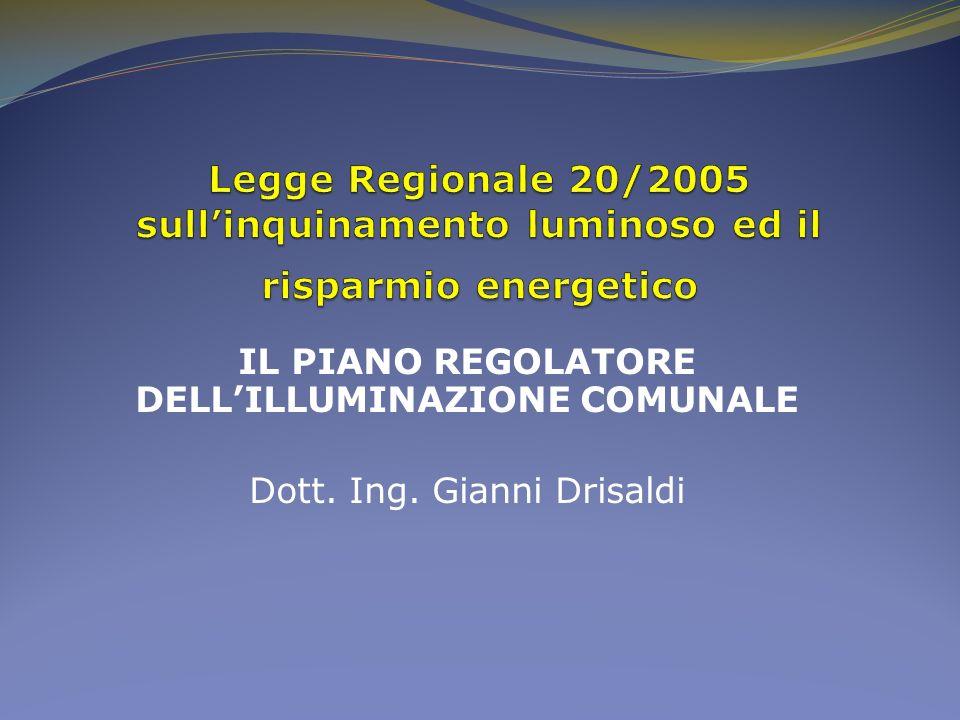 IL PIANO REGOLATORE DELL'ILLUMINAZIONE COMUNALE